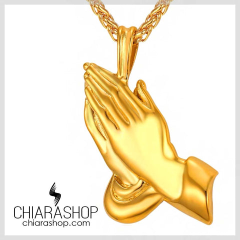 The Miracle of Life Praying Hands Pendant Premium Stainless Steel Necklace