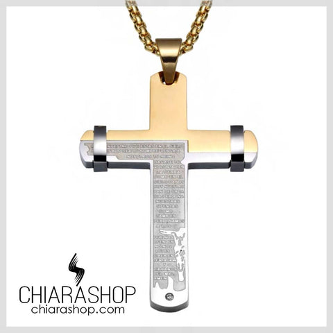 Chiarashop Two Tone Bible Cross Titanium Steel Big Cross Necklace