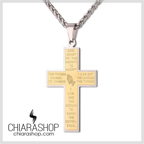 Chiarashop High Quality Premium 316L Stainless Steel Serenity And The Lord's Prayer Cross Necklace