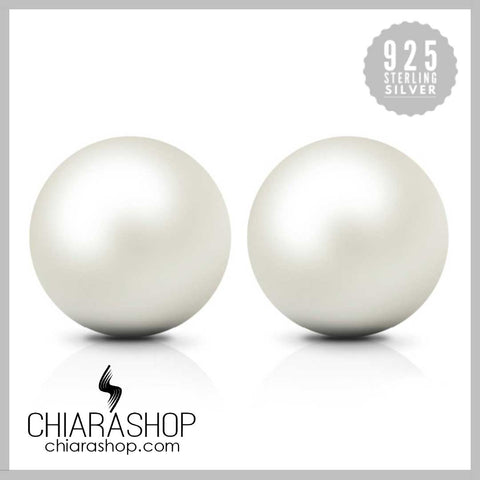 Freshwater Cultured Pearl Button Ball 925 Sterling Silver Earring