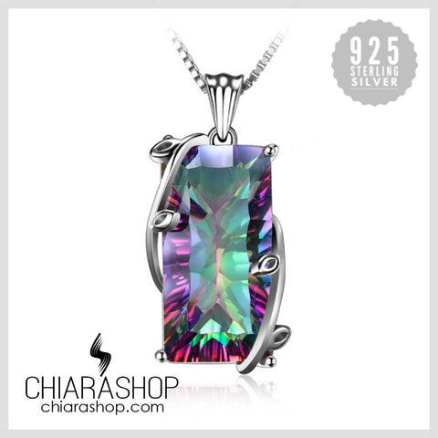Natural 16ct Fire Rainbow Topaz Charm Solid 925 Sterling Silver Pendant