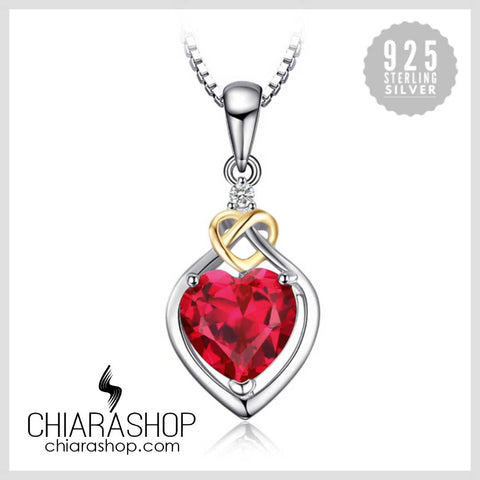 Love Knot Heart 2.5ct Created Red Ruby 18K 925 Sterling Silver Pendant
