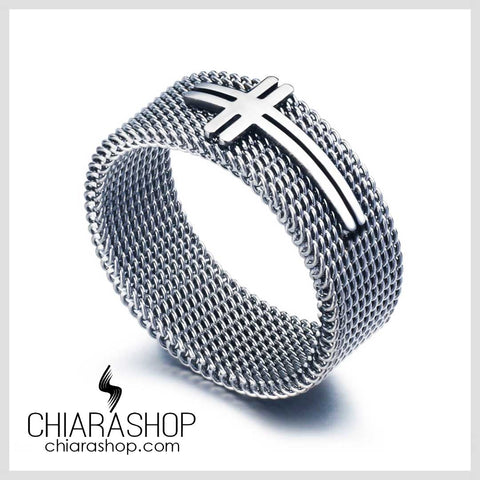 Chiarashop New Fashion Stainless Steel Silver Color Cross Ring