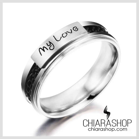 Chiarashop New Fashion Stainless Steel My Love Man Woman Ring