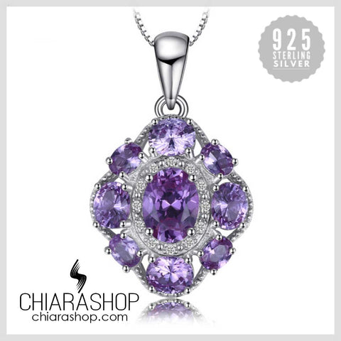European 4.6ct Created Alexandrite Sapphire 925 Sterling Silver Women Pendant
