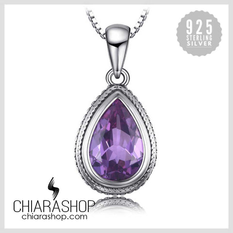 Beautiful Pear Shape 11ct Created Alexandrite Sapphire 925 Sterling Silver Pendant