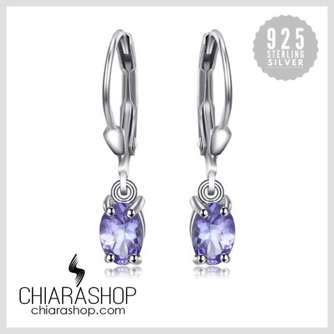 New Fashion 1.0ct Natural Tanzanite Lever Back Earrings Genuine 925 Sterling Silver Earrings