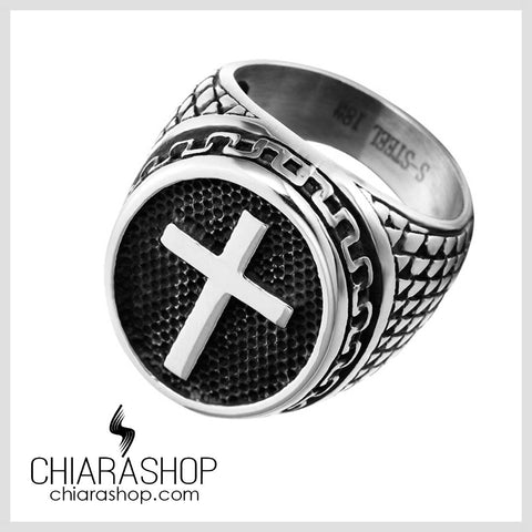 Chiarashop High Quality 316L Stainless Steel Vintage Warrior Cross Man Ring