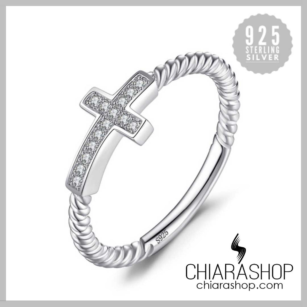 Elegant 925 Sterling Silver Cross Round Cubic Zirconia Peace Statement Women Ring