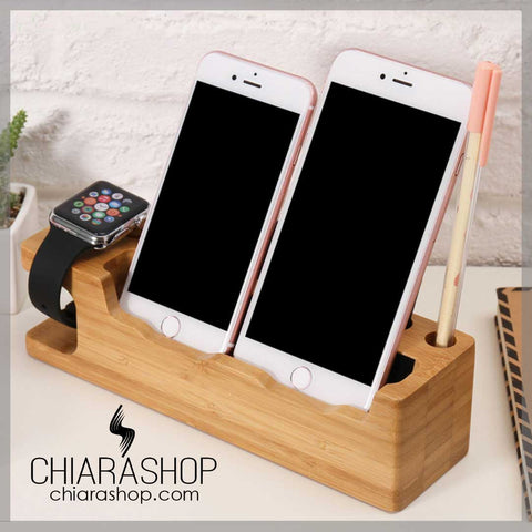 Wooden Charging Dock Holder For All iPhone and iWatch Series Desk Stand