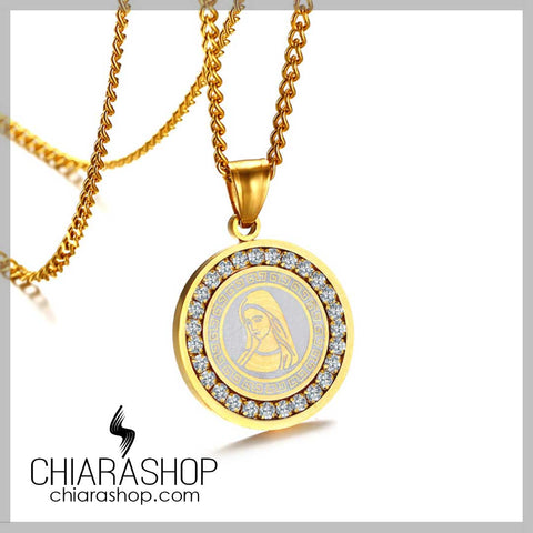 Luxury Virgin Mary Pendant Stainless Steel Cubic Zirconia Women Necklace
