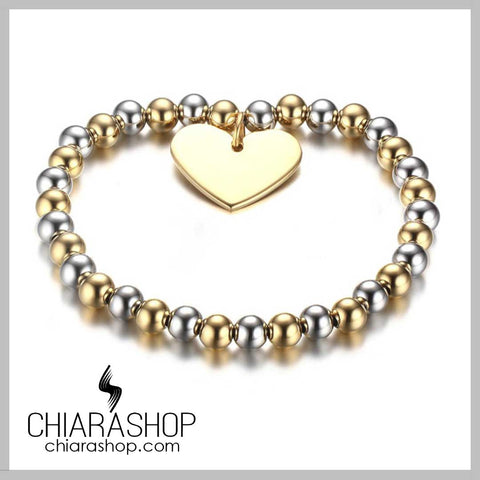 Heart-Shaped Stainless Steel Pendant Ball Beads Luxury Female Bracelet