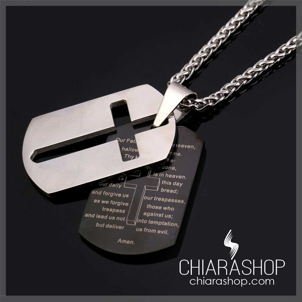 Double Our Father Prayer Pendant Premium Stainless Steel Hollow Cross Necklace