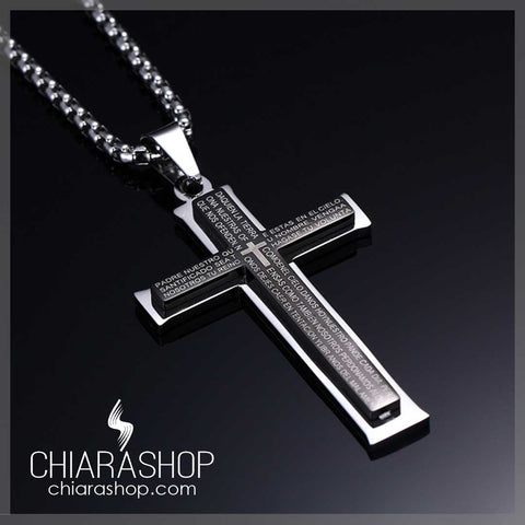 Our Father Prayer Pendant Premium Stainless Steel Black Cross Necklace