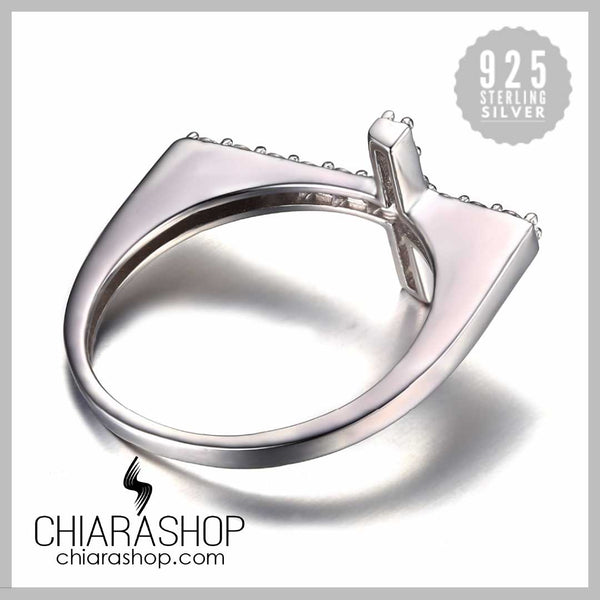 Luxury Cubic Zirconia 925 Sterling Silver Modern Cross Ring