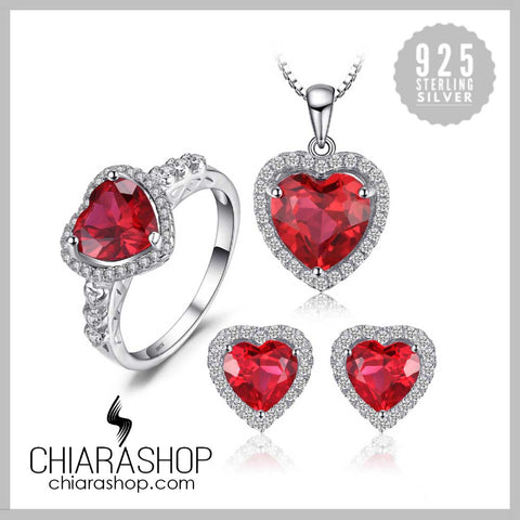 New Heart Of Sea Charm Necklace, Ring and Earring Red Ruby 925 Sterling Silver Set