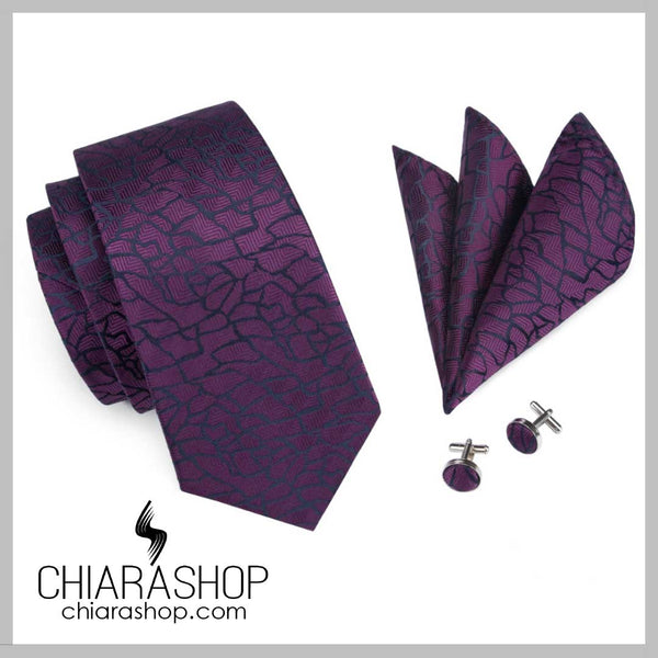 New 2018 Fashion 100% High Quality Silk Purple Men's Tie, Pocket Square and Cuff Link Set