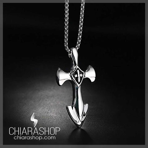 Vintage Strong Stainless Steel Man Cross Necklace