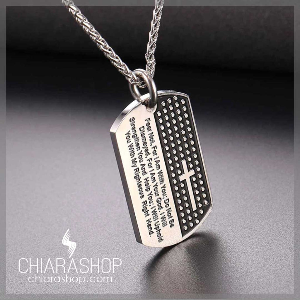 316L Premium Stainless Steel Cross & Bible Verse Military Style Necklace