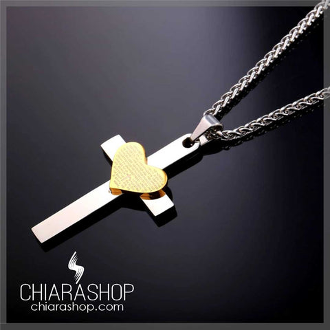 Premium Stainless Steel Cross Gold Heart Bible Verse Necklace