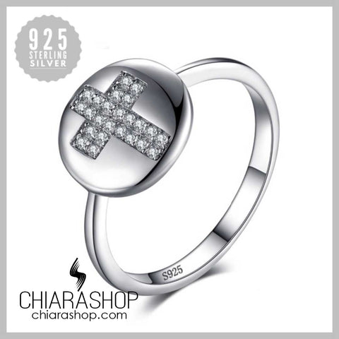 Real 925 Sterling Silver Cubic Zirconia Woman Cross Ring