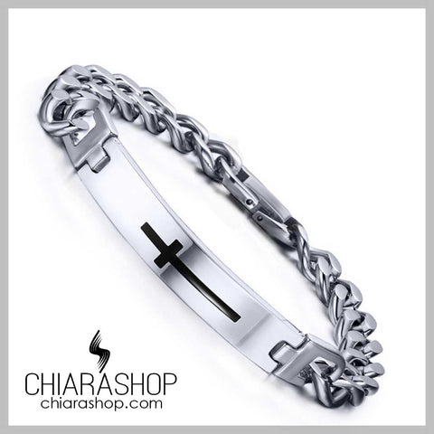 Full Premium Stainless Steel Elegant Black Cross Bracelet