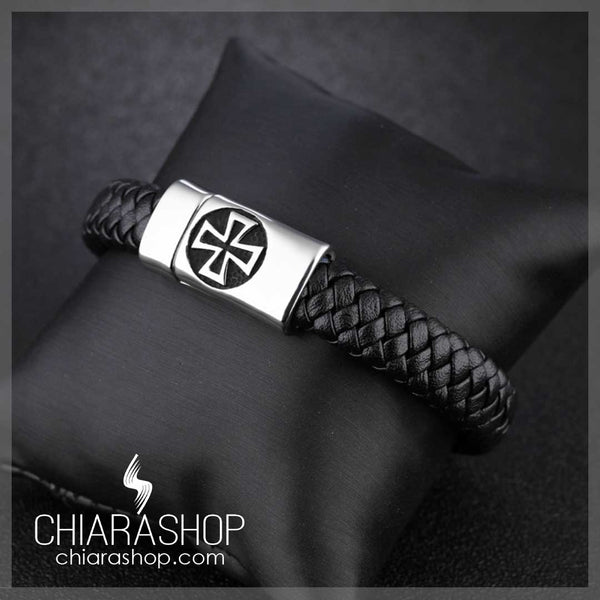 Fashion Man Genuine Leather Rope Titanium Steel Vintage Cross Bracelet