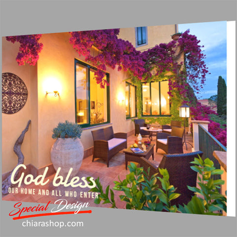 God Bless Our Home And All Framed Canvas Print
