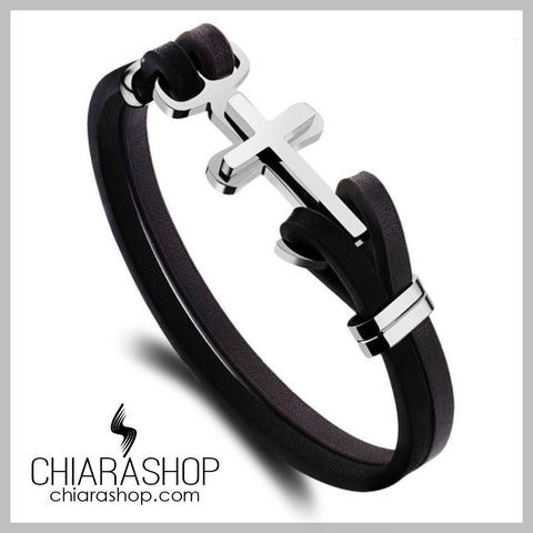 Chiarashop 316L High Quality Stainless Steel Genuine Leather Cross Anchor Bracelet