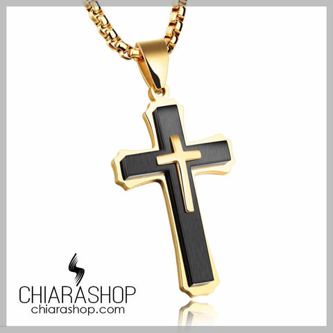 Luxury Premium Silver Gold Stainless Steel Cross Necklace