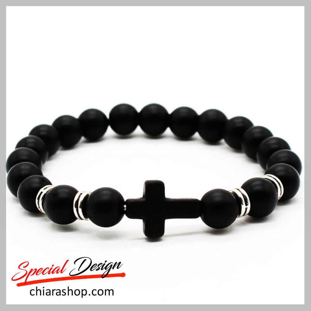 Natural Frosted Matte Stone Beads Cross Bracelet