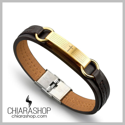 Genuine Leather Stainless Steel Plate Cross And Prayer Bracelet