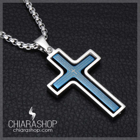 Premium Stainless Steel Rotatable Blue Silver and Gold Pendant Cross Necklace