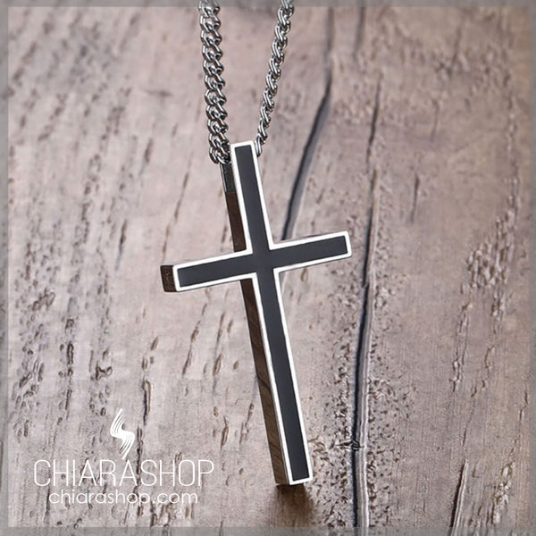 Classic Black Titanium Steel Cross Necklace