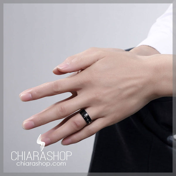 Seperable Black Stainless Steel Cross Ring