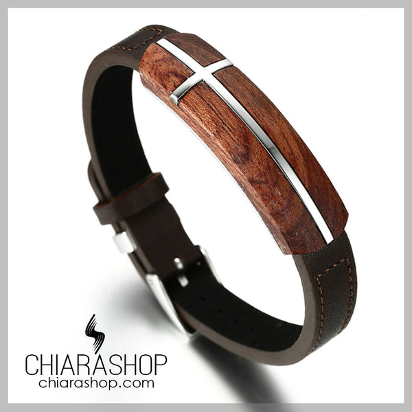 Top Quality Rosewood And Genuine Leather Cross Bracelet