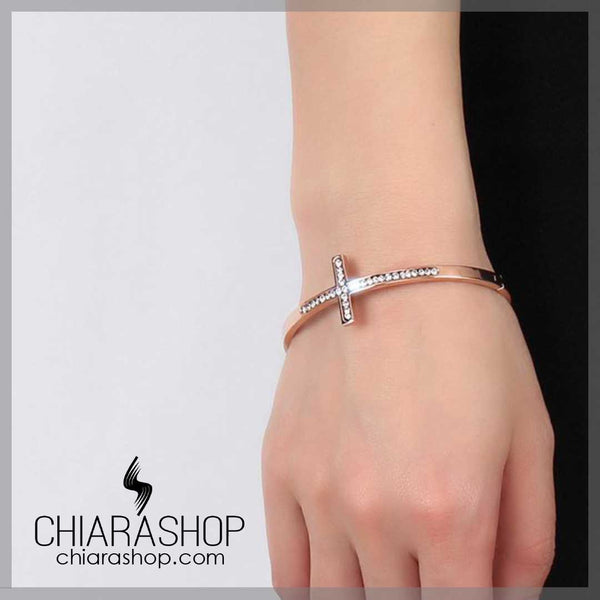 Beautiful Rose Gold Stainless Steel Woman's Cross Bracelet