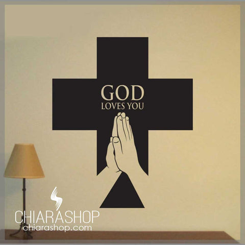 God Loves You Big Cross Wall Decal Sticker