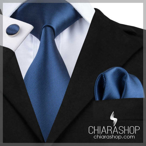 New 2018 Fashion 100% High Quality Silk Blue Men's Tie, Pocket Square and Cuff Link Set