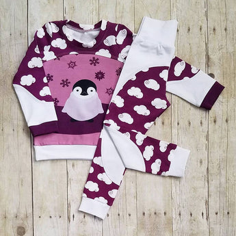 3T Purple Penguin Jadyn Shirt and Pant Set
