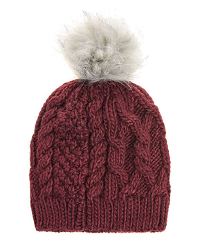 Knitted burgundy beanie by Only
