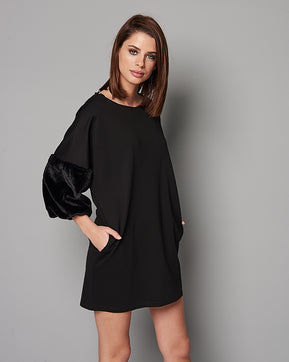 Faux fair sleeve black dress by Nejma