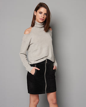 Above knee black suede skirt by Vero Moda
