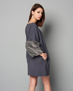 Faux fair sleeve grey dress by Nejma