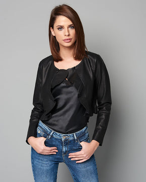 Faux leather frill bolero by Only