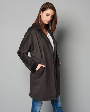 Tailor Alkantara Charcoal Coat by Nejma
