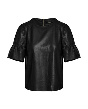 Emma faux black leather top by Only