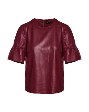 Emma faux burgundy leather top by Only