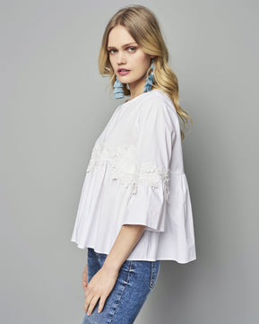 White Applied Flowers Blouse by Nejma