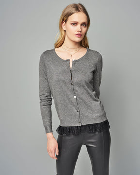 Carmel Glory O-Neck Grey Cardigan by Vero Moda